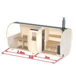 bild 5m-Bastuhus-för-6-pers.-med-bänkar-eller-sängplats-(S5P)
